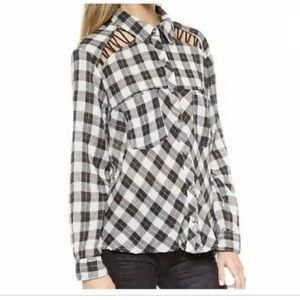 FREE PEOPLE Plaid Checkered Oversized Top 236